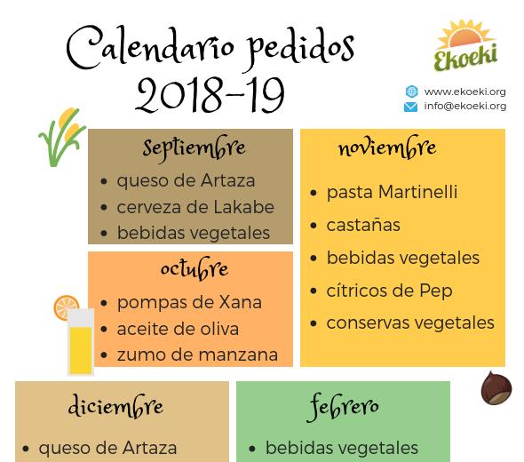 Calendario de pedidos 2018-19